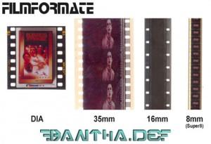 Ein Bild mit verschiedenen Filmformaten von 35mm bis Super 8